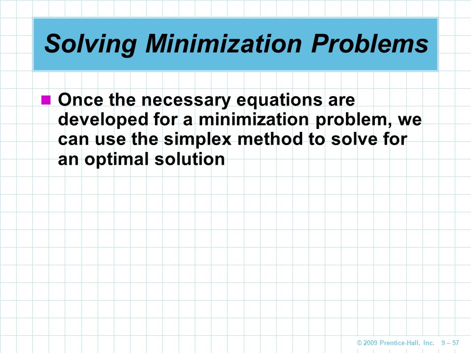 Solving Minimization Problems