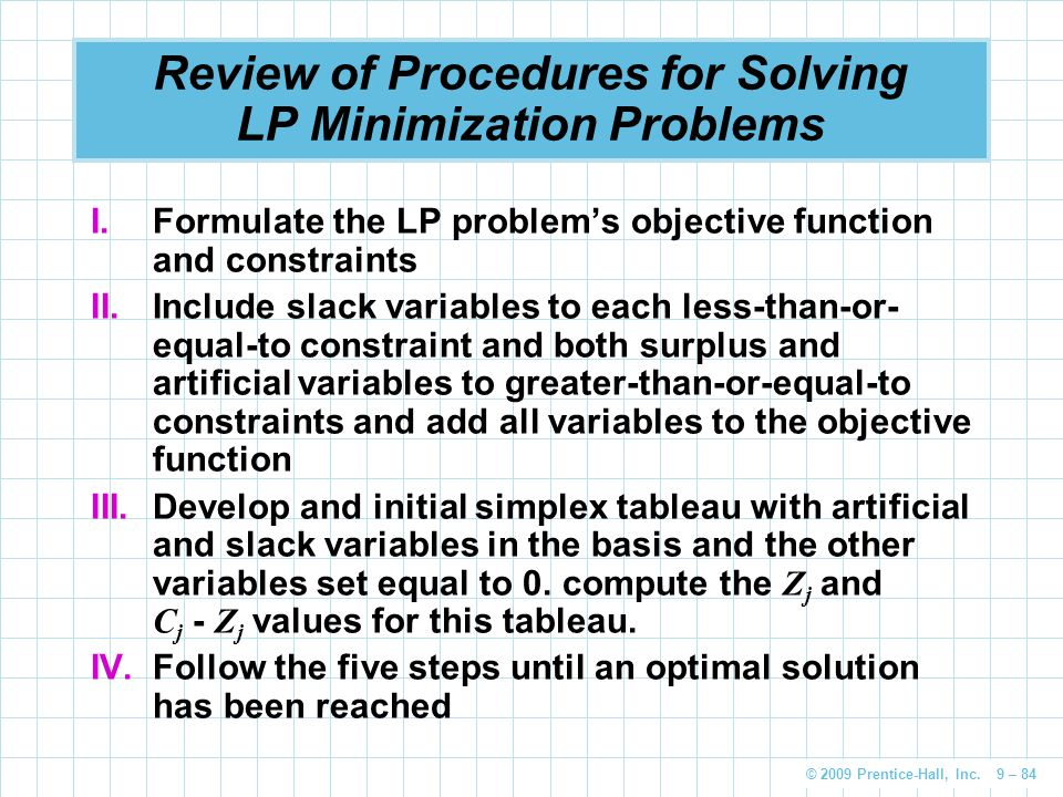 Review of Procedures for Solving LP Minimization Problems