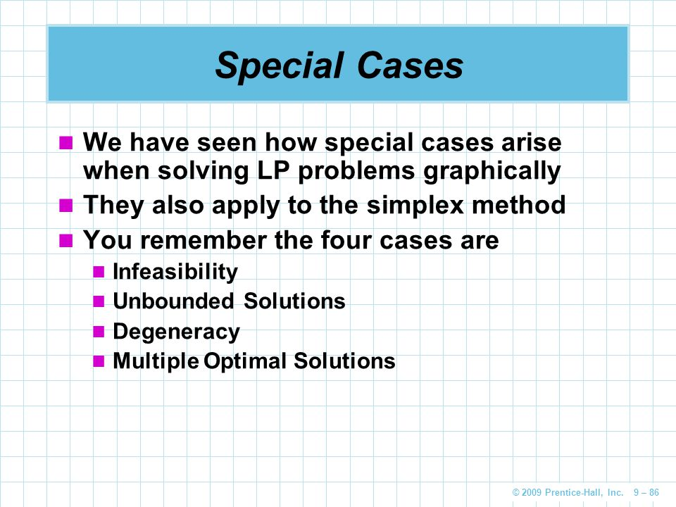 Special Cases We have seen how special cases arise when solving LP problems graphically. They also apply to the simplex method.