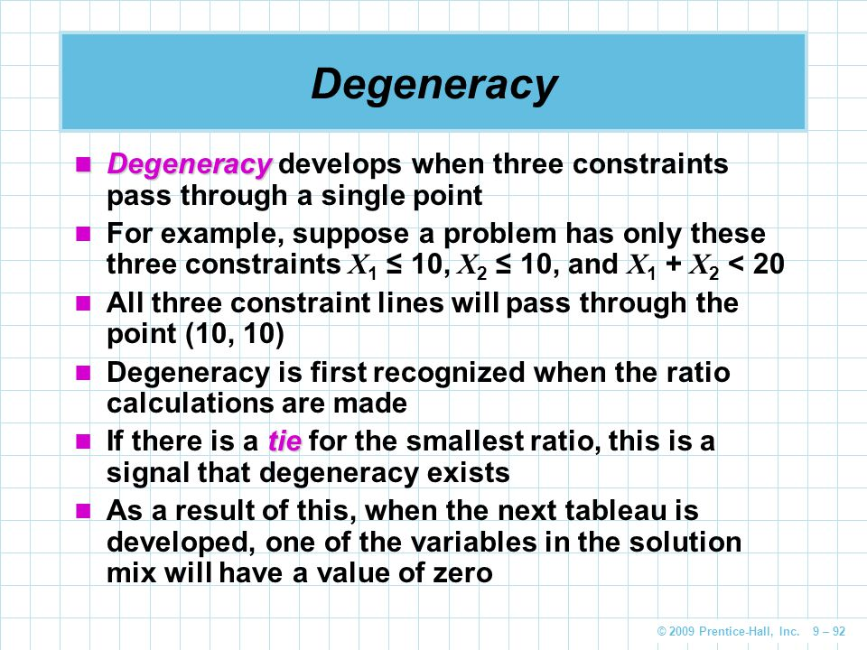 Degeneracy Degeneracy develops when three constraints pass through a single point.