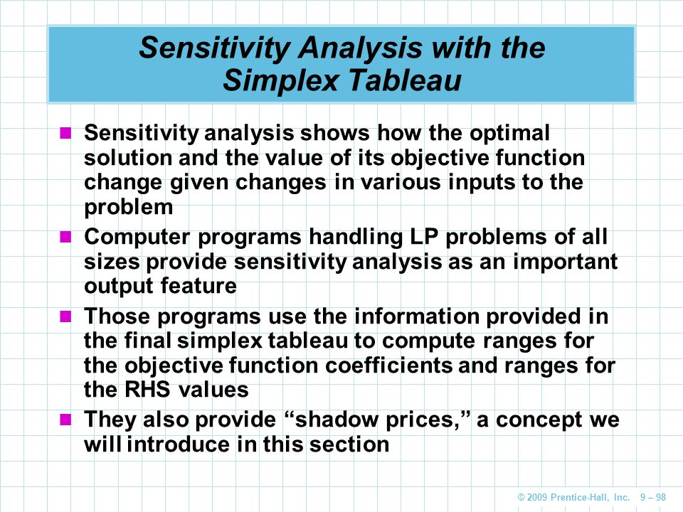 Sensitivity Analysis with the Simplex Tableau