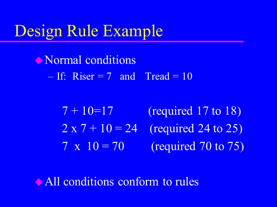 Design Rule Example Normal conditions 7 + 10=17 (required 17 to 18)