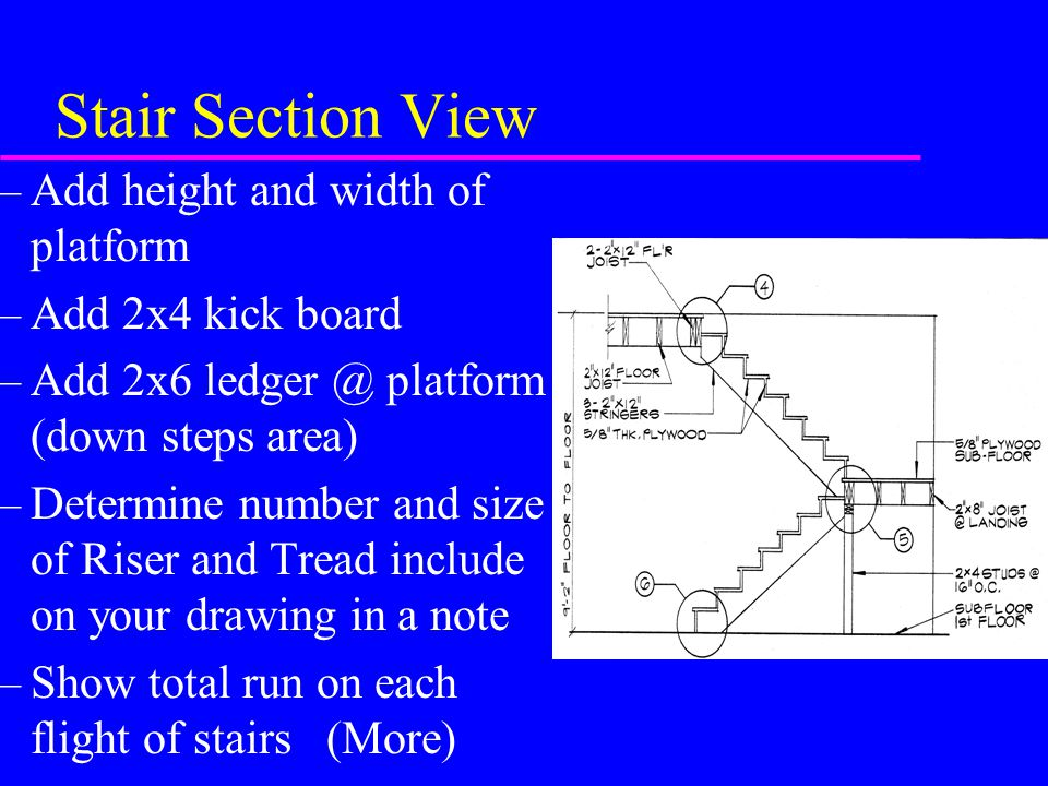 Stair Section View Add height and width of platform Add 2x4 kick board