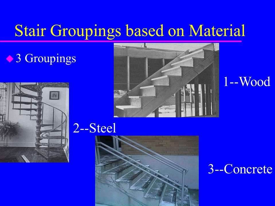 Stair Groupings based on Material