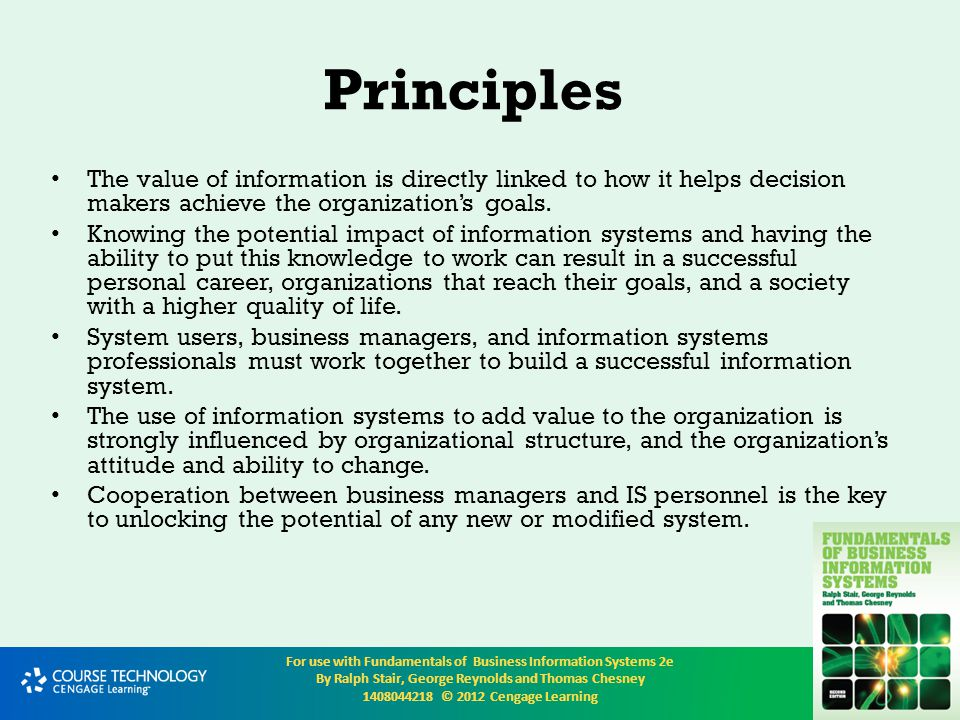 Principles The value of information is directly linked to how it helps decision makers achieve the organization's goals.