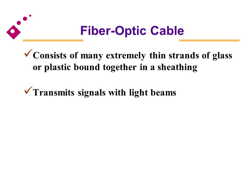 Fiber-Optic Cable Consists of many extremely thin strands of glass or plastic bound together in a sheathing.