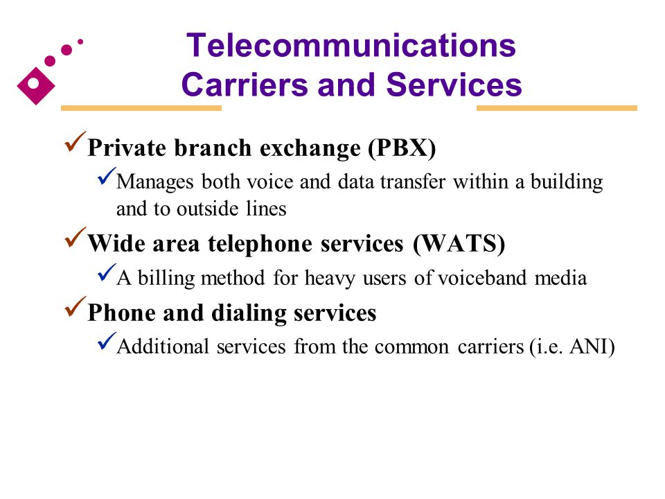 Telecommunications Carriers and Services