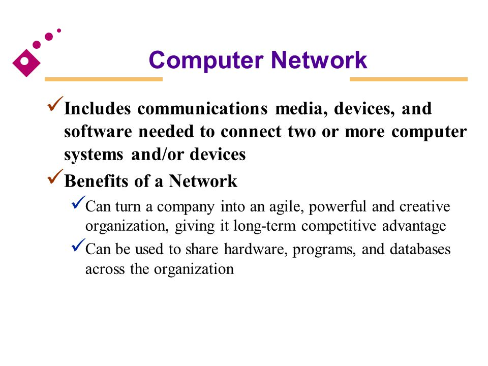 Computer Network Includes communications media, devices, and software needed to connect two or more computer systems and/or devices.