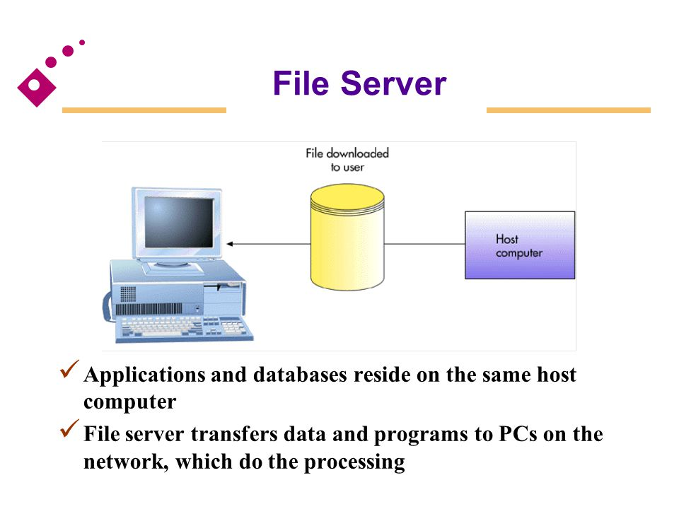 File Server Fig 6.21. Applications and databases reside on the same host computer.