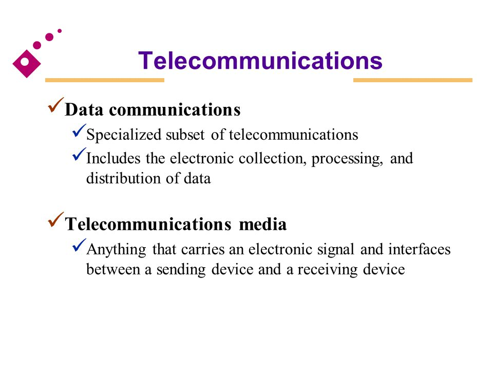 Telecommunications Data communications Telecommunications media