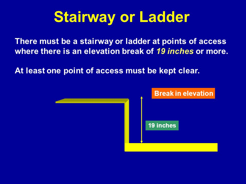 Stairway or Ladder There must be a stairway or ladder at points of access where there is an elevation break of 19 inches or more.