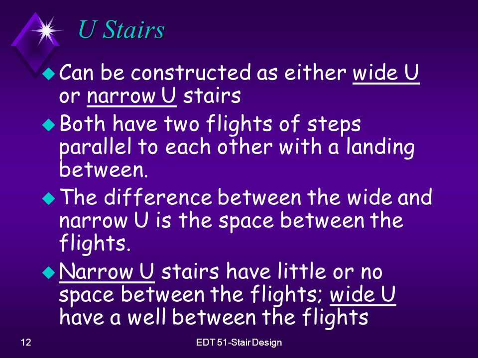 U Stairs Can be constructed as either wide U or narrow U stairs