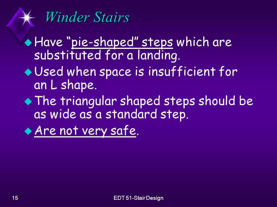 Winder Stairs Have pie-shaped steps which are substituted for a landing. Used when space is insufficient for an L shape.