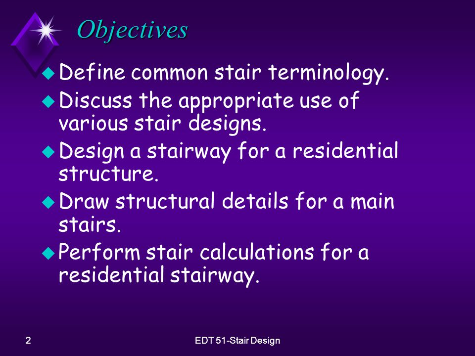 Objectives Define common stair terminology.