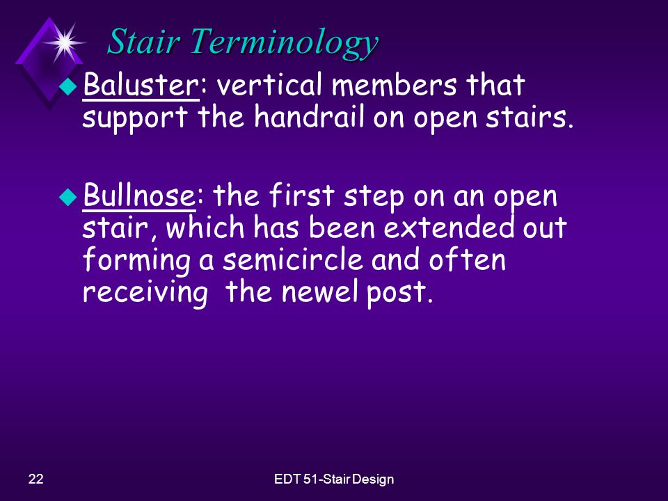 Stair Terminology Baluster: vertical members that support the handrail on open stairs.