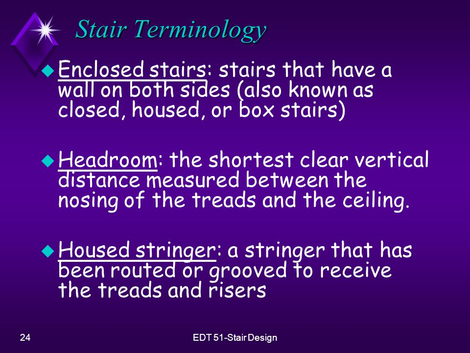 Stair Terminology Enclosed stairs: stairs that have a wall on both sides (also known as closed, housed, or box stairs)