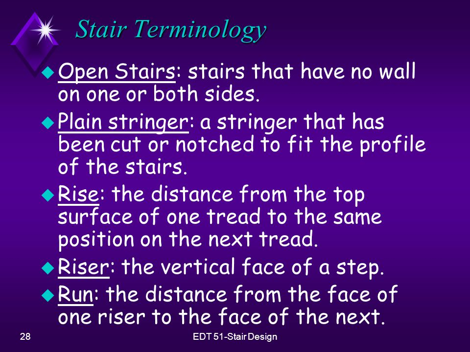 Stair Terminology Open Stairs: stairs that have no wall on one or both sides.