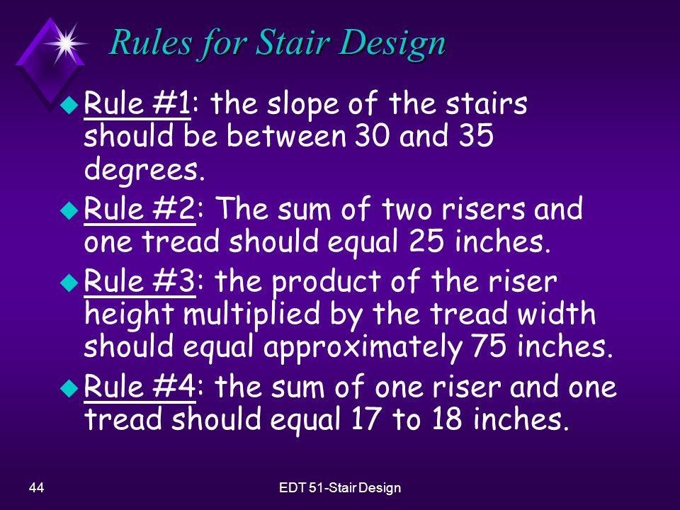 Rules for Stair Design Rule #1: the slope of the stairs should be between 30 and 35 degrees.