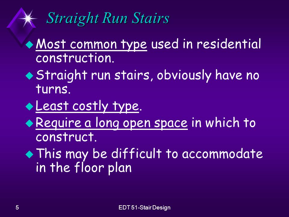 Straight Run Stairs Most common type used in residential construction.