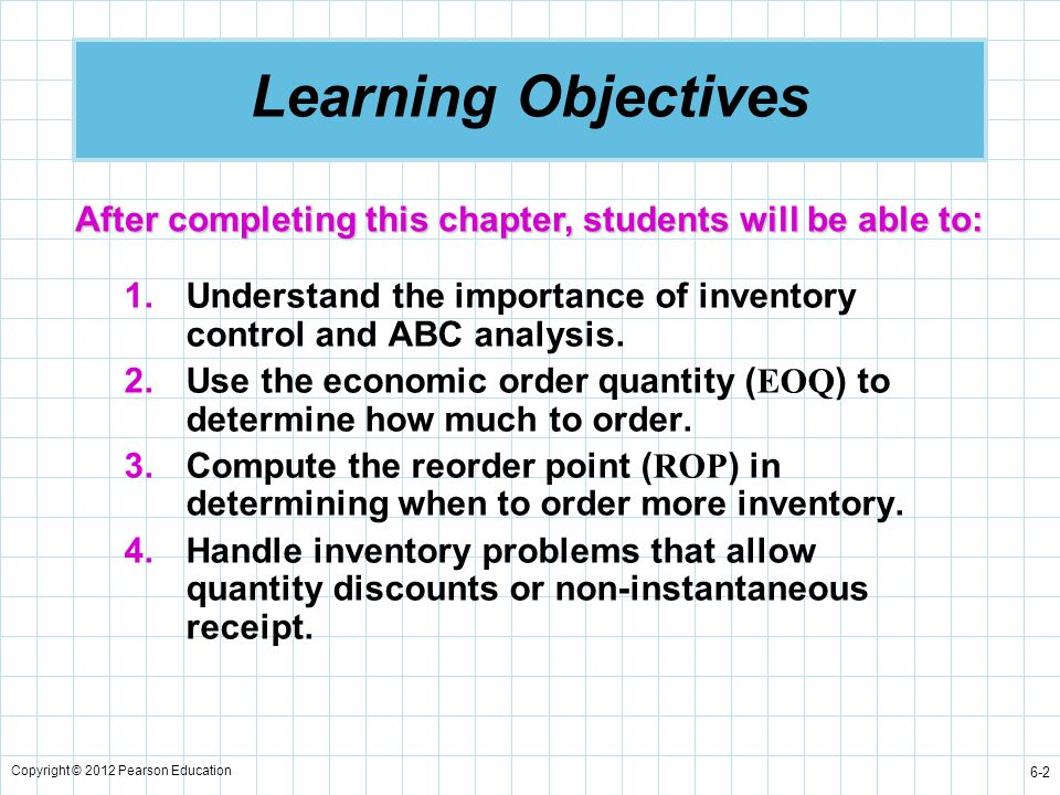 Learning Objectives After completing this chapter, students will be able to: Understand the importance of inventory control and ABC analysis.