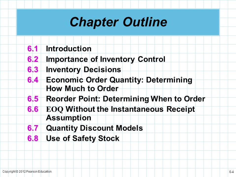 Chapter Outline 6.1 Introduction 6.2 Importance of Inventory Control
