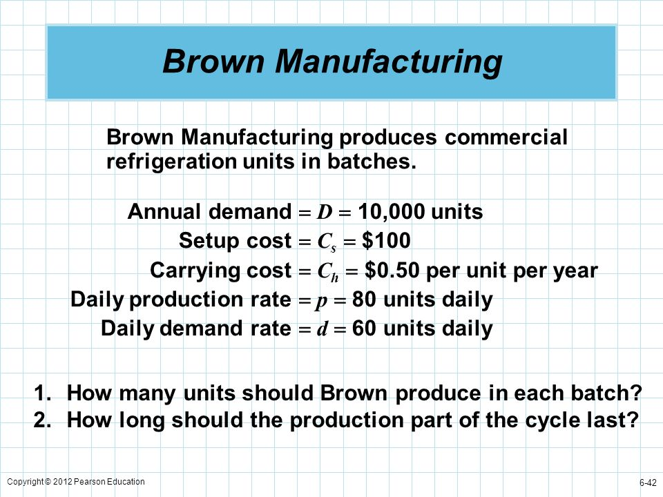 Brown Manufacturing Brown Manufacturing produces commercial refrigeration units in batches. Annual demand  D  10,000 units.