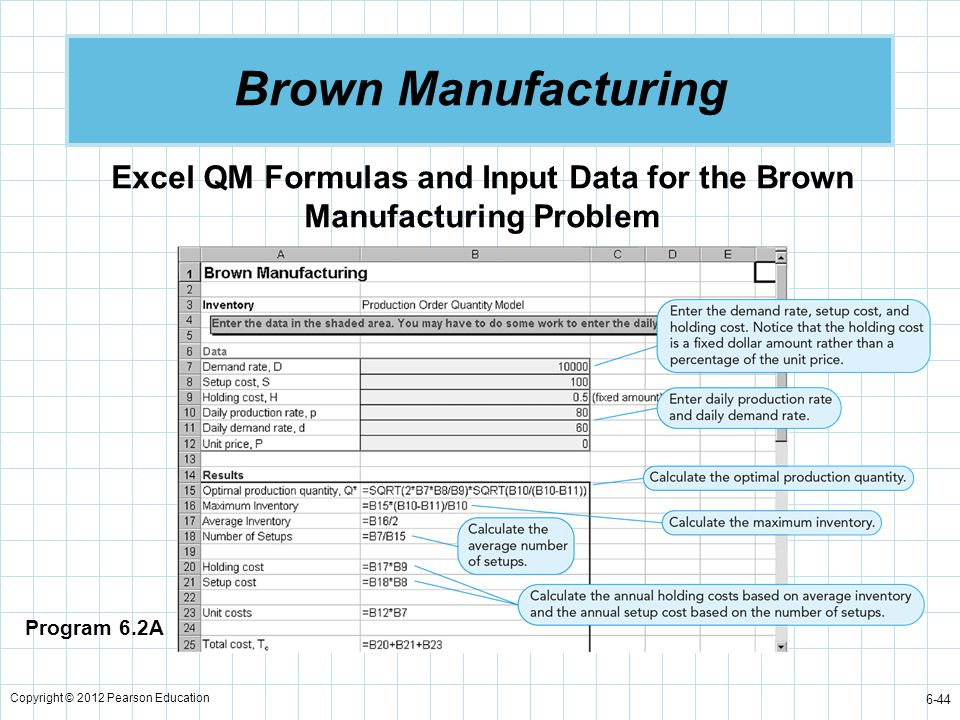 Excel QM Formulas and Input Data for the Brown Manufacturing Problem