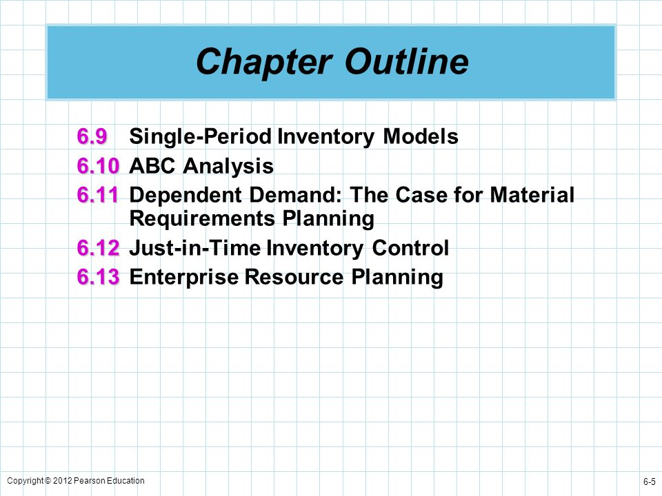 Chapter Outline 6.9 Single-Period Inventory Models 6.10 ABC Analysis