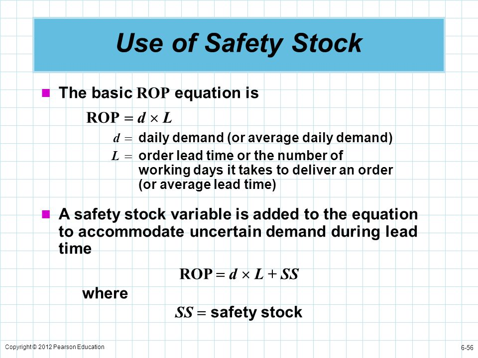 Use of Safety Stock The basic ROP equation is ROP  d  L