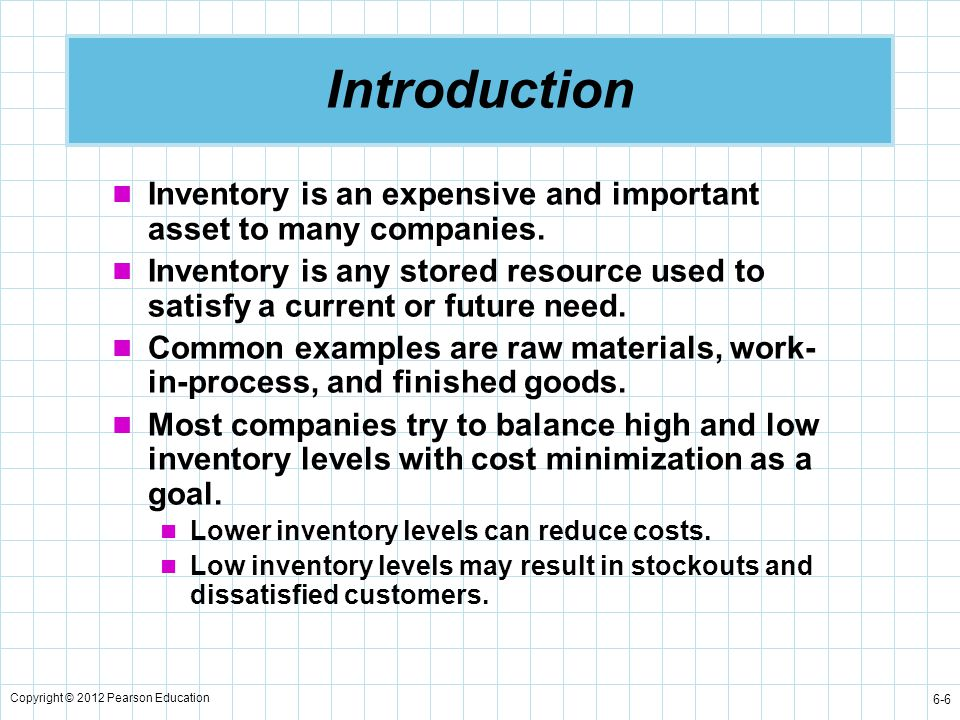 Introduction Inventory is an expensive and important asset to many companies.