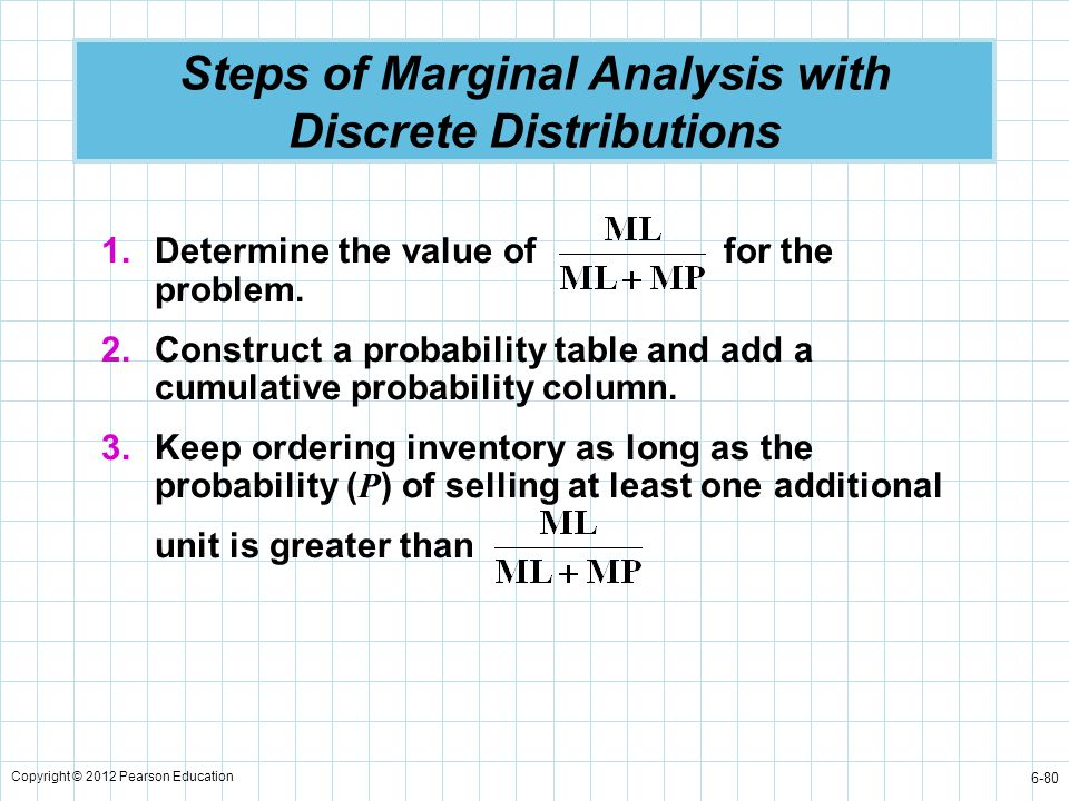 Steps of Marginal Analysis with Discrete Distributions