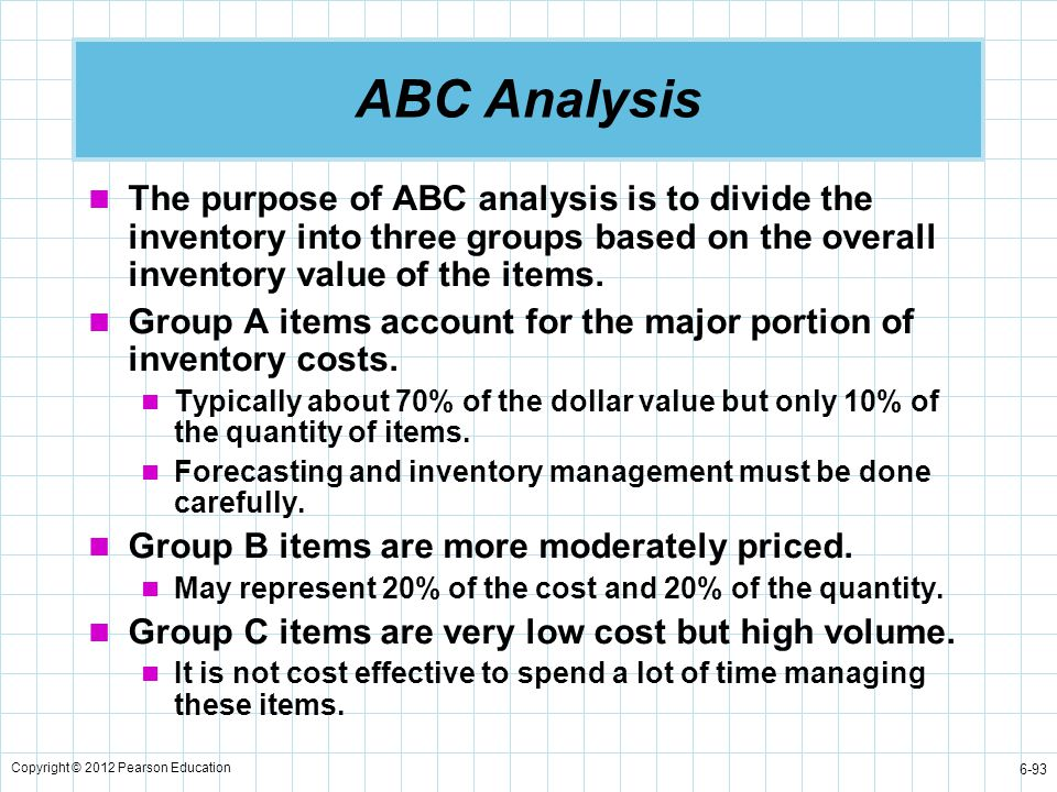 ABC Analysis The purpose of ABC analysis is to divide the inventory into three groups based on the overall inventory value of the items.