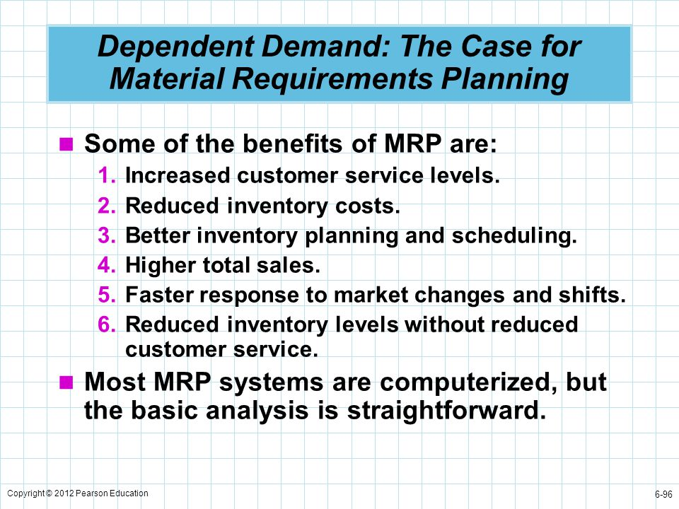 Dependent Demand: The Case for Material Requirements Planning