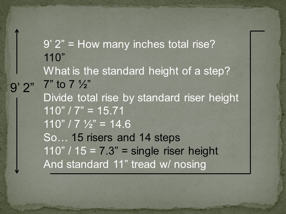 9' 2 9' 2 = How many inches total rise 110
