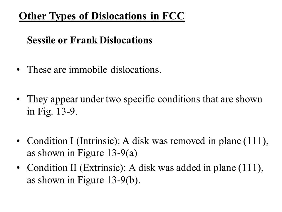 Other Types of Dislocations in FCC