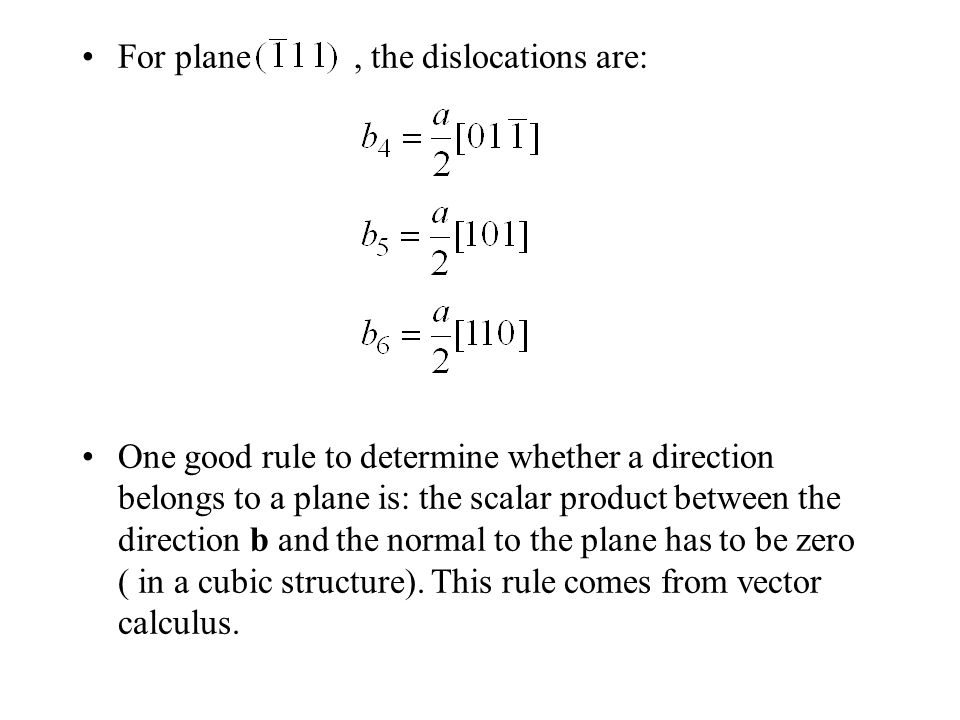 For plane , the dislocations are: