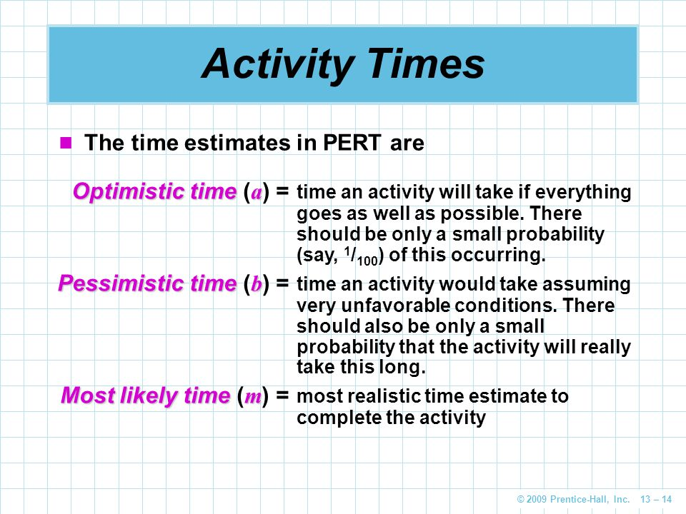 Activity Times The time estimates in PERT are