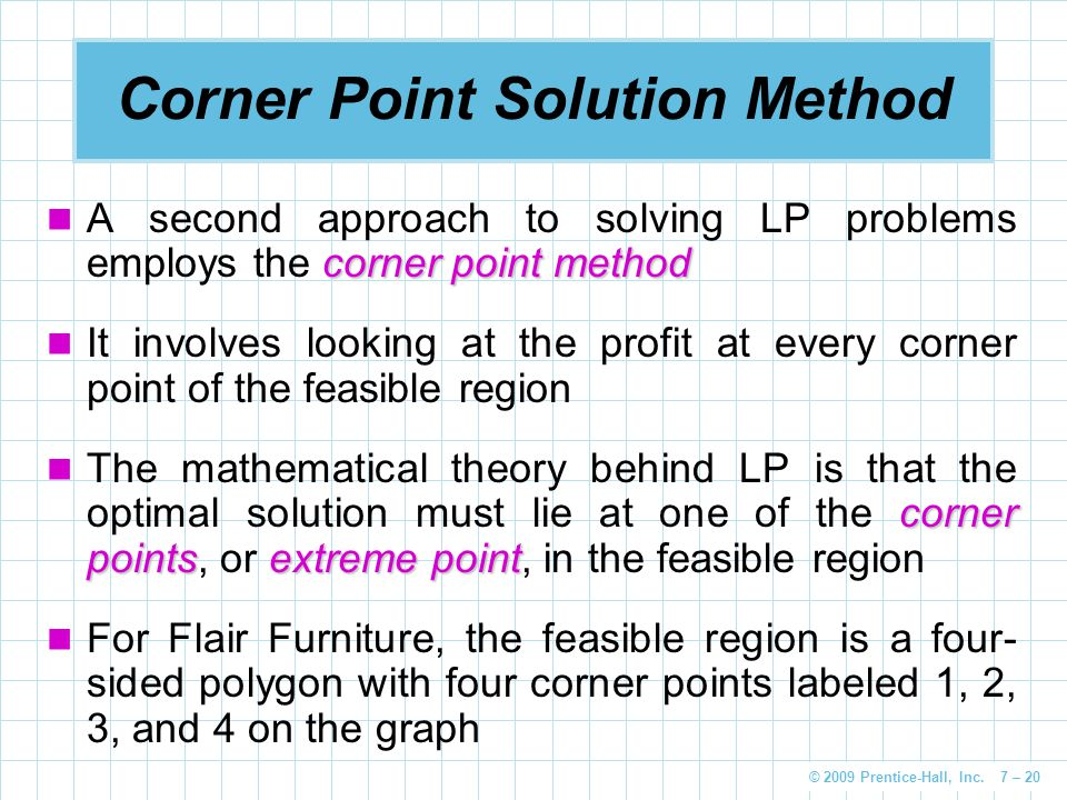 Corner Point Solution Method