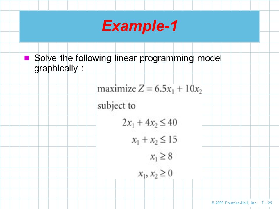 Example-1 Solve the following linear programming model graphically :
