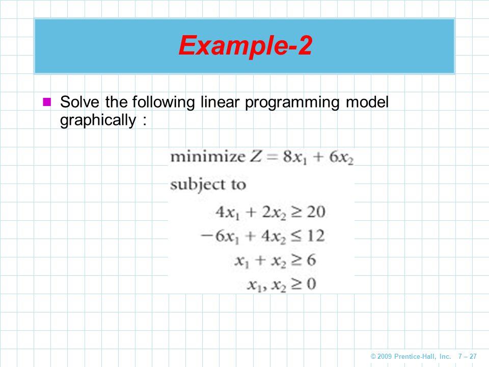Example-2 Solve the following linear programming model graphically :