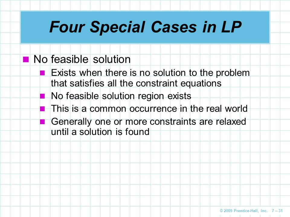 Four Special Cases in LP