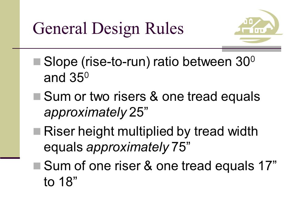 General Design Rules Slope (rise-to-run) ratio between 300 and 350