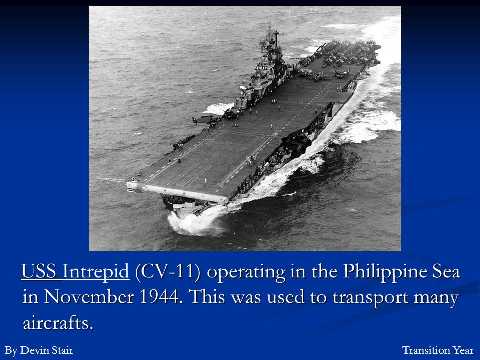USS Intrepid (CV-11) operating in the Philippine Sea in November 1944