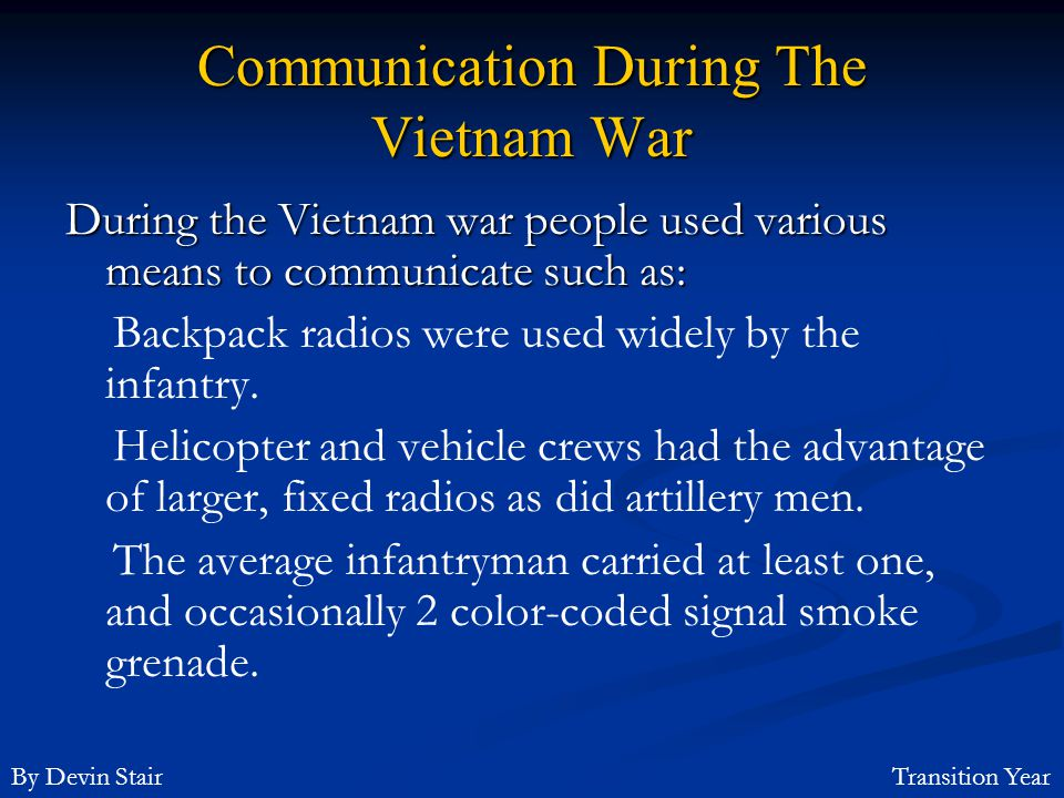 Communication During The Vietnam War