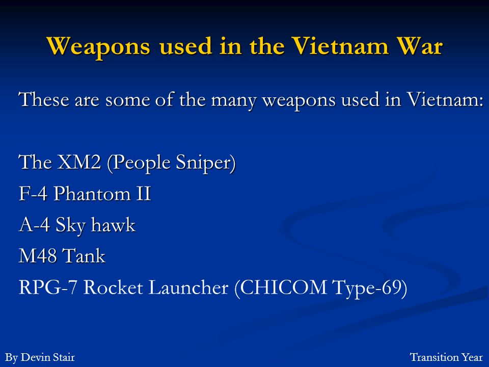 Weapons used in the Vietnam War