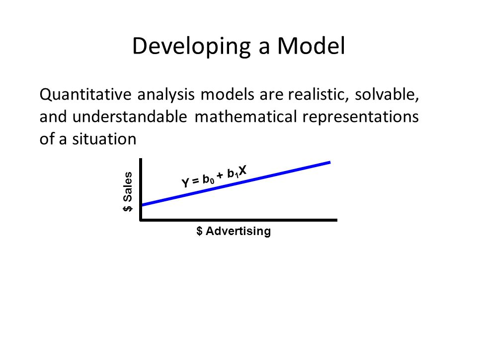 Developing a Model Quantitative analysis models are realistic, solvable, and understandable mathematical representations of a situation.