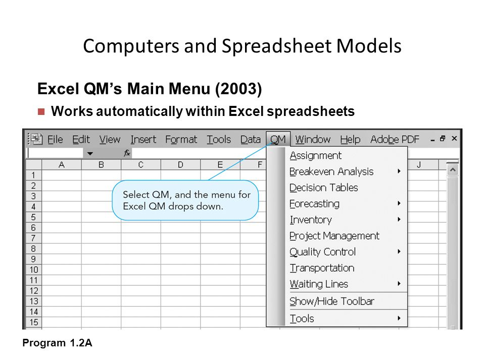 Computers and Spreadsheet Models
