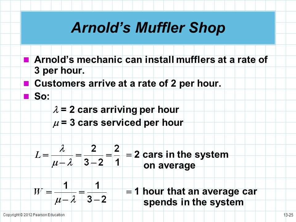 Arnold's Muffler Shop Arnold's mechanic can install mufflers at a rate of 3 per hour. Customers arrive at a rate of 2 per hour.