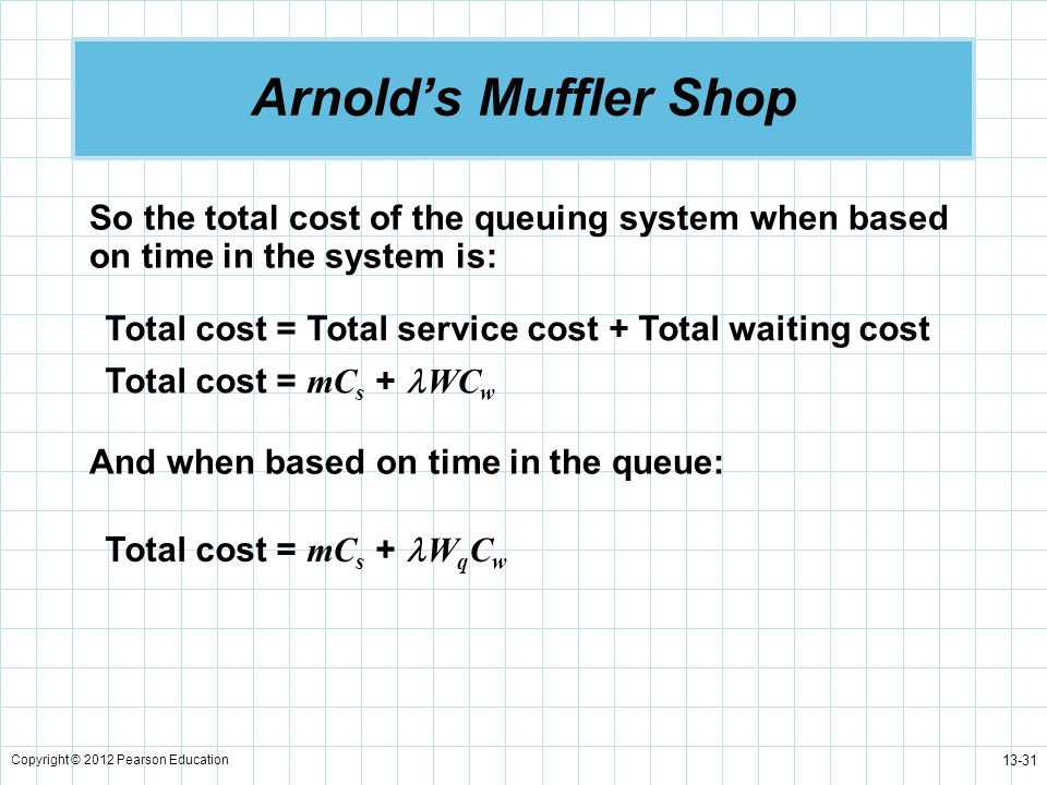 Arnold's Muffler Shop So the total cost of the queuing system when based on time in the system is: