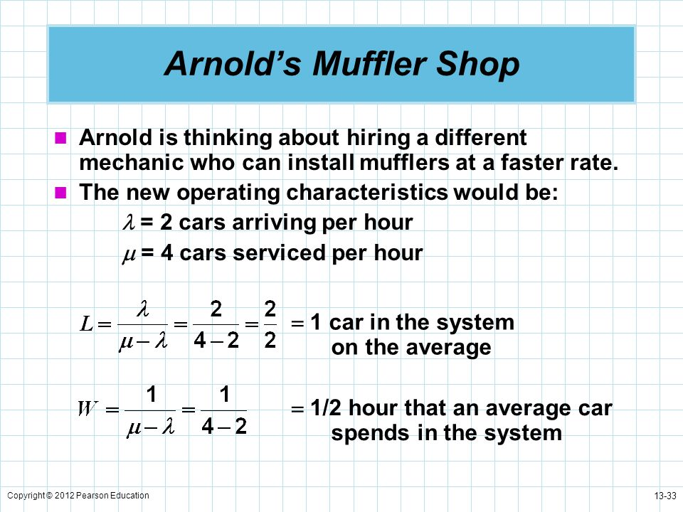 Arnold's Muffler Shop Arnold is thinking about hiring a different mechanic who can install mufflers at a faster rate.
